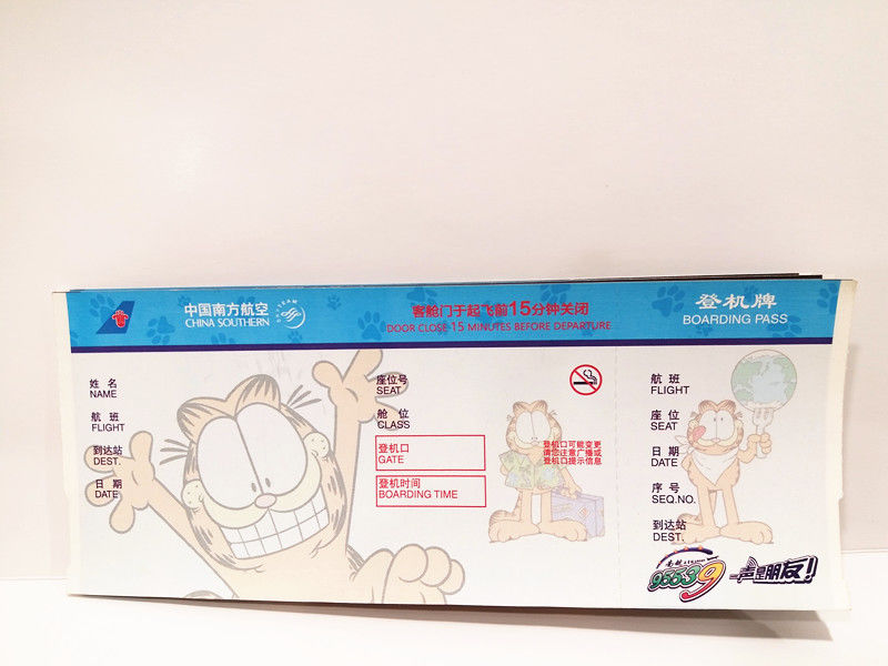 Boarding Pass Printed Thermal Ticket Stock , Travel Air Ticket Printing